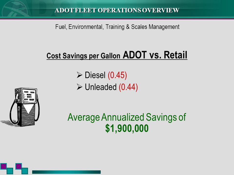 ADOT FLEET OPERATIONS OVERVIEW Cost Savings per Gallon ADOT vs.