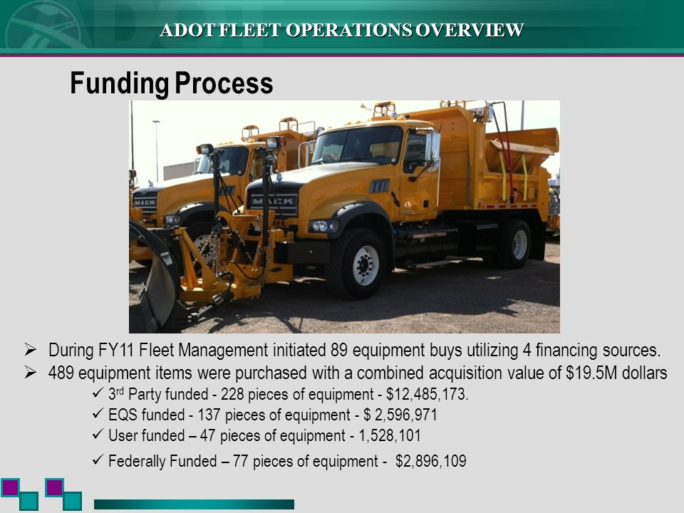 ADOT FLEET OPERATIONS OVERVIEW During FY11 Fleet Management initiated 89 equipment buys utilizing 4 financing sources. 489 equipment items were purcha