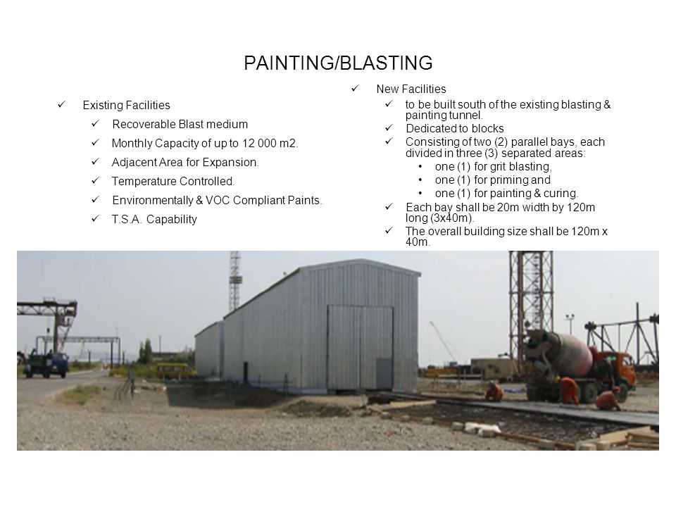 PAINTING/BLASTING Existing Facilities Recoverable Blast medium Monthly Capacity of up to m2.