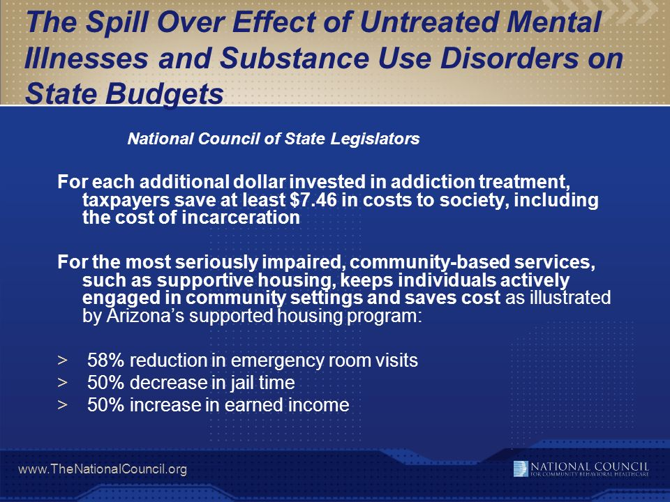 www.TheNationalCouncil.org The Spill Over Effect of Untreated Mental Illnesses and Substance Use Disorders on State Budgets National Council of State