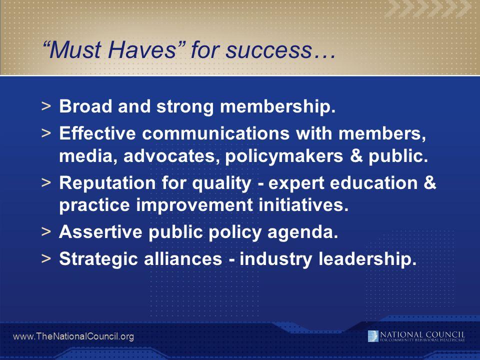 www.TheNationalCouncil.org Psychiatric Leadership Program >Executive leadership program for medical directors in community behavioral health organizations.