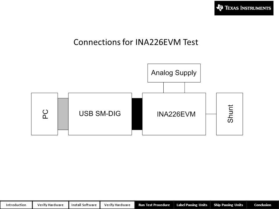 IntroductionVerify HardwareInstall SoftwareVerify HardwareRun Test ProcedureLabel Passing UnitsShip Passing UnitsConclusion Connections for INA226EVM