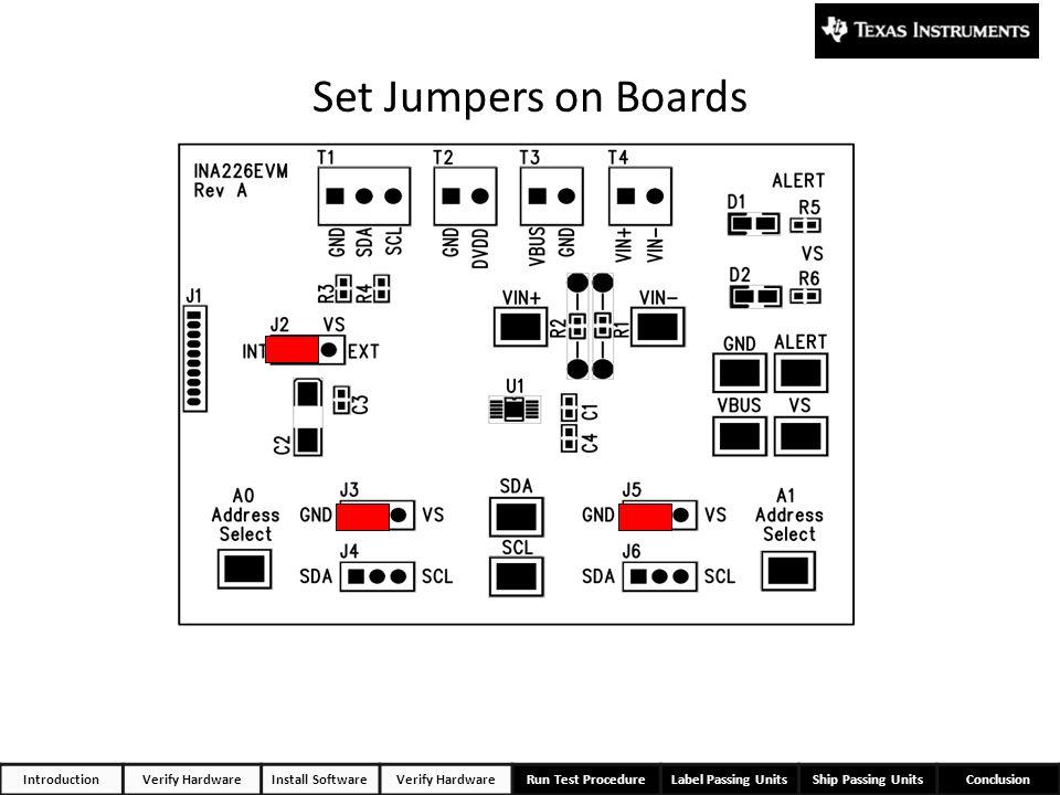 IntroductionVerify HardwareInstall SoftwareVerify HardwareRun Test ProcedureLabel Passing UnitsShip Passing UnitsConclusion Set Jumpers on Boards