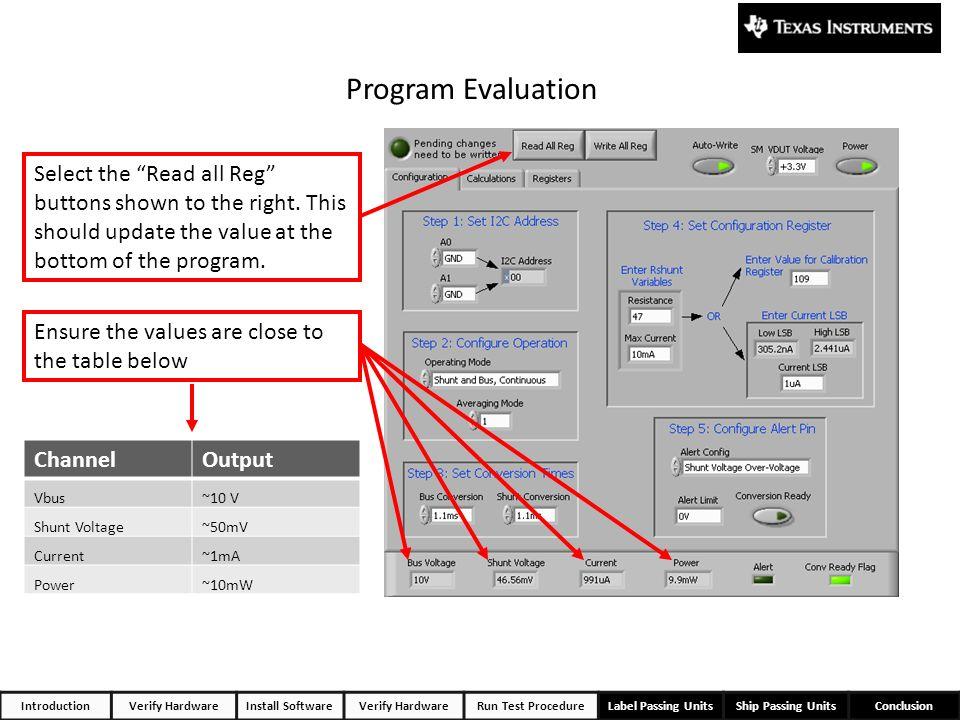 IntroductionVerify HardwareInstall SoftwareVerify HardwareRun Test ProcedureLabel Passing UnitsShip Passing UnitsConclusion Program Evaluation Ensure