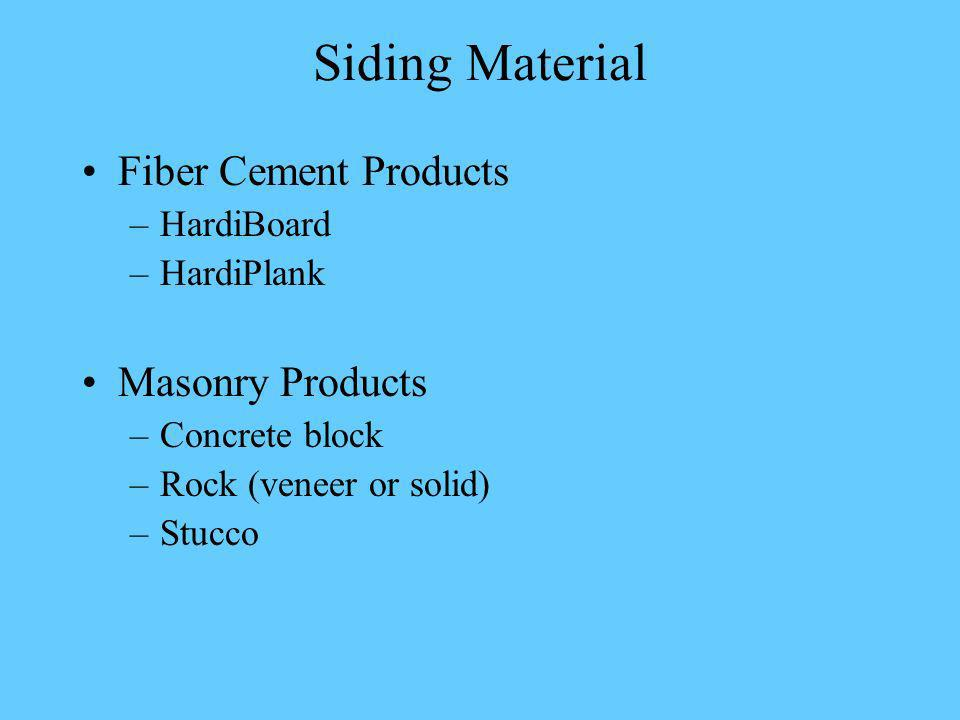 Siding Material Fiber Cement Products –HardiBoard –HardiPlank Masonry Products –Concrete block –Rock (veneer or solid) –Stucco