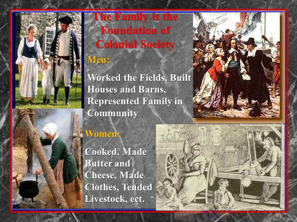 The Family is the Foundation of Colonial Society Women: Cooked, Made Butter and Cheese, Made Clothes, Tended Livestock, ect.
