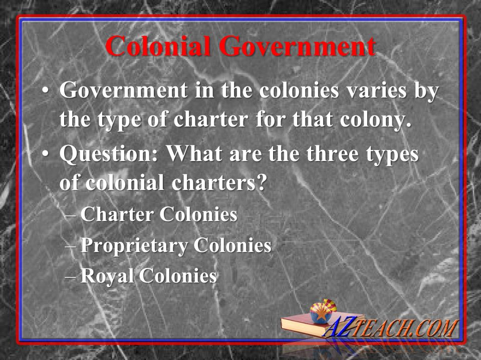 Colonial Government Government in the colonies varies by the type of charter for that colony.Government in the colonies varies by the type of charter