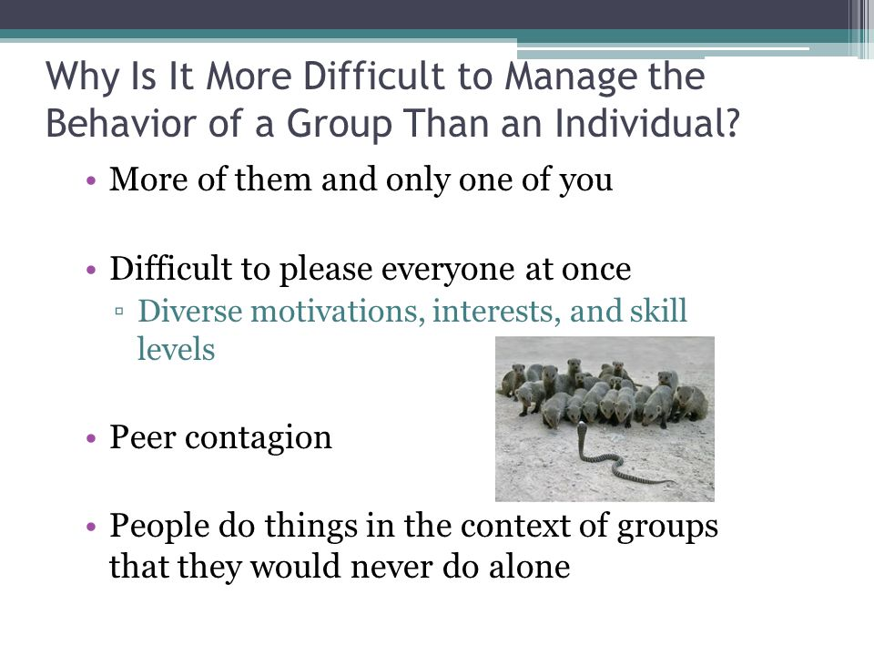 Why Is It More Difficult to Manage the Behavior of a Group Than an Individual.