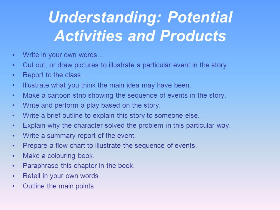 Classroom Roles for Understanding Teacher roles Demonstrates Listens Questions Compares Contrasts Examines Student roles Explains Describes Outlines R