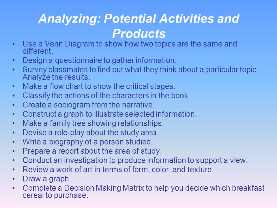 Classroom Roles for Analyzing Teacher roles Probes Guides Observes Evaluates Acts as a resource Questions Organizes Dissects Student roles Discusses U