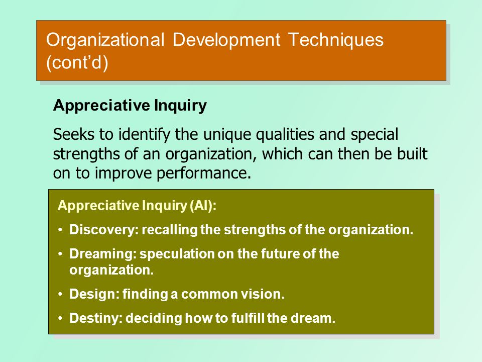 Organizational Development Techniques (contd) Team Building Activities: Goal and priority setting. Developing interpersonal relations. Role analysis t
