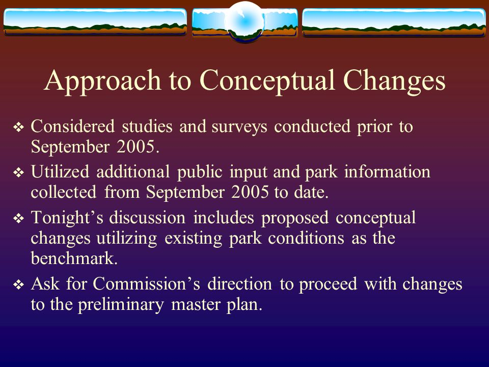 General Proposed Improvements to Thunderbird Conservation Park Provide consistent maintenance and design standards to all park trails, trailheads, trail nodes,signage, trash cans, ramadas, picnic tables, drinking fountains, equestrian hitching posts and troughs, restrooms, parking, lighting.