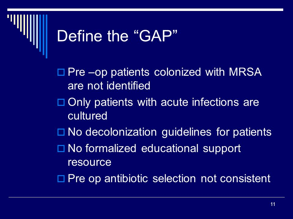 11 Define the GAP Pre –op patients colonized with MRSA are not identified Only patients with acute infections are cultured No decolonization guideline