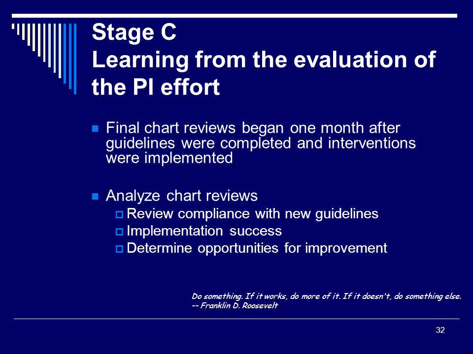 32 Stage C Learning from the evaluation of the PI effort Final chart reviews began one month after guidelines were completed and interventions were im