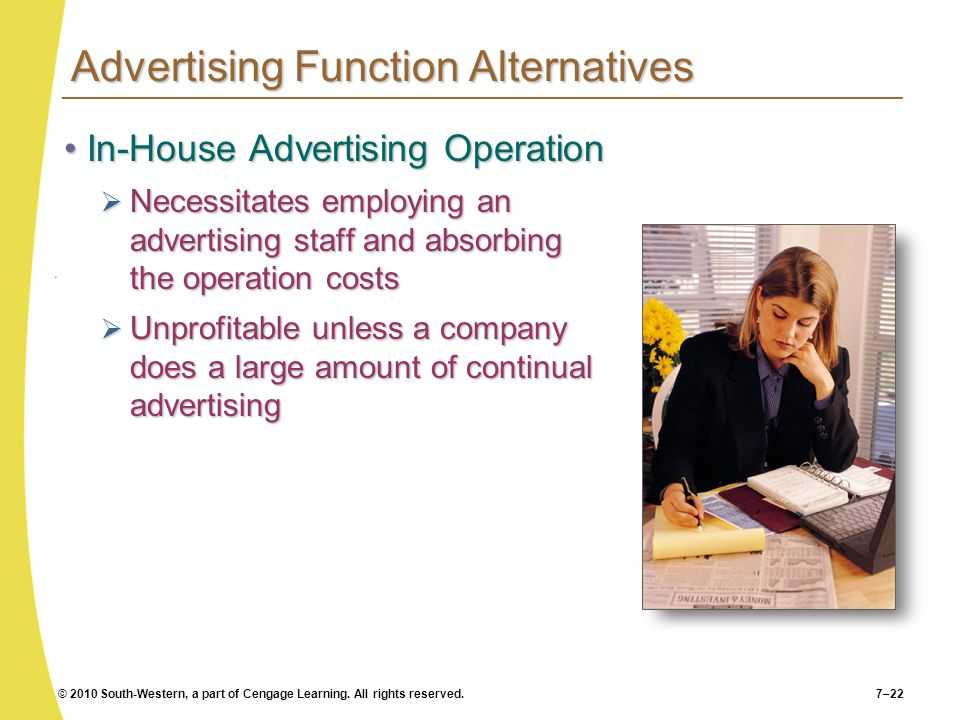 © 2010 South-Western, a part of Cengage Learning. All rights reserved.7–22 Advertising Function Alternatives In-House Advertising OperationIn-House Ad