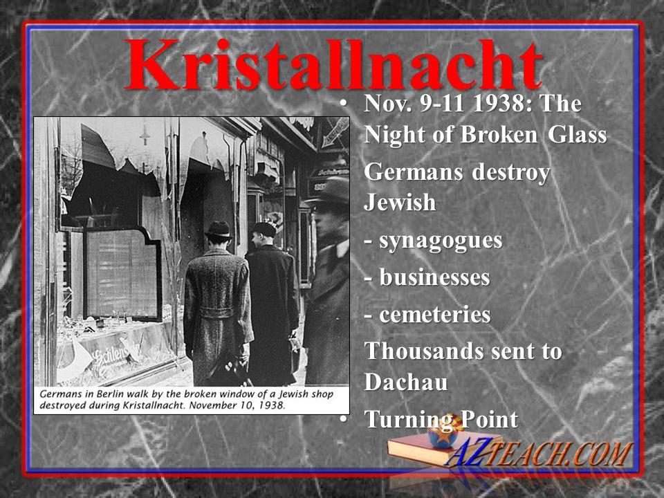 Kristallnacht Nov. 9-11 1938: The Night of Broken Glass Nov. 9-11 1938: The Night of Broken Glass Germans destroy Jewish Germans destroy Jewish - syna