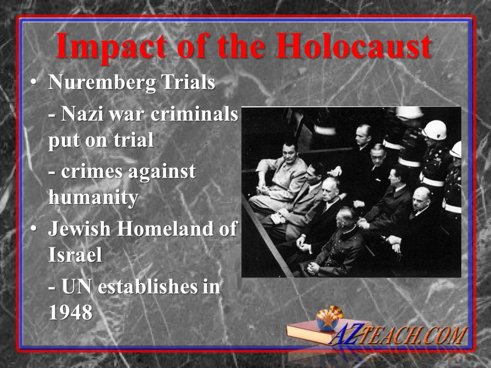 Impact of the Holocaust Nuremberg Trials Nuremberg Trials - Nazi war criminals put on trial - crimes against humanity Jewish Homeland of Israel Jewish