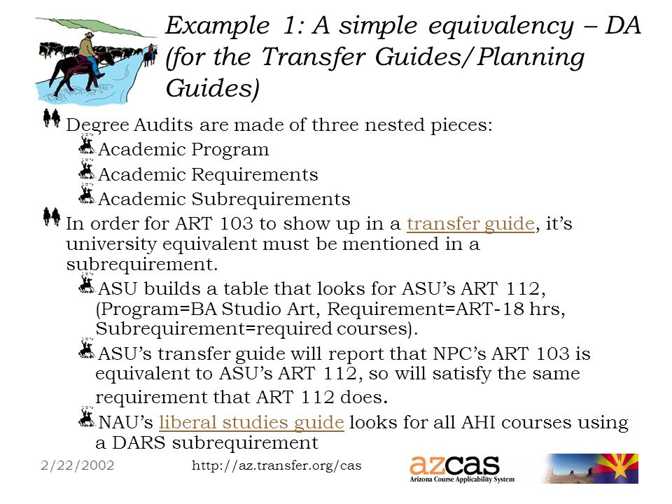 http://az.transfer.org/cas2/22/2002 Example 1: A simple equivalency – TA (for the CEG) NPC s ART 103 TA encoding for UA: Table for NPC courses.