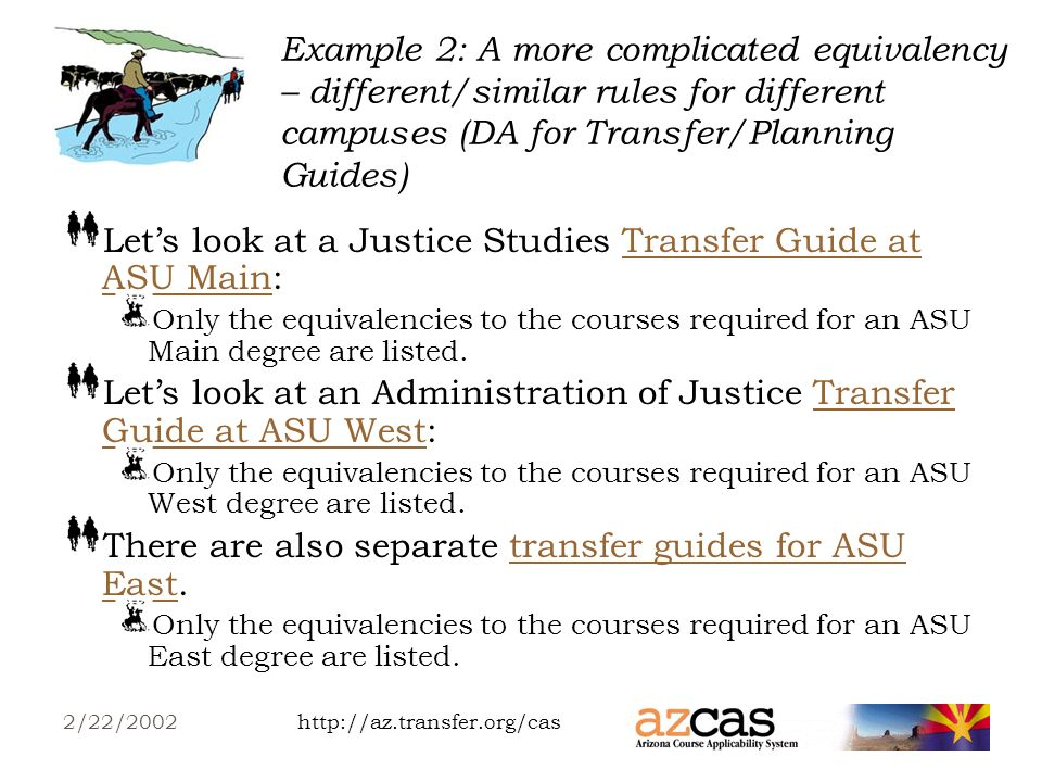 http://az.transfer.org/cas2/22/2002 Example 2: A more complicated equivalency – different/similar rules for different campuses (TA for CEG) – contd Why does the East equivalency display, when its the same as the Main equivalency.