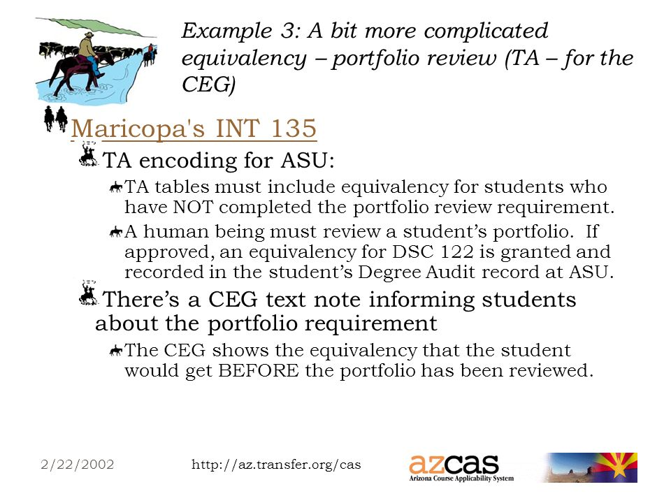 http://az.transfer.org/cas2/22/2002 Example 2: A more complicated equivalency – different/similar rules for different campuses (DA for Transfer/Planning Guides) Lets look at a Justice Studies Transfer Guide at ASU Main:Transfer Guide at ASU Main Only the equivalencies to the courses required for an ASU Main degree are listed.