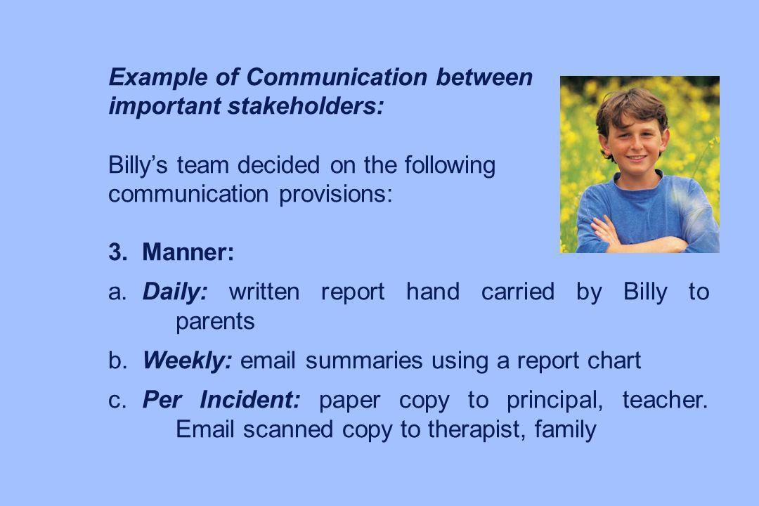 Example of Communication between important stakeholders: Billys team decided on the following communication provisions: 3.Manner: a.Daily: written rep