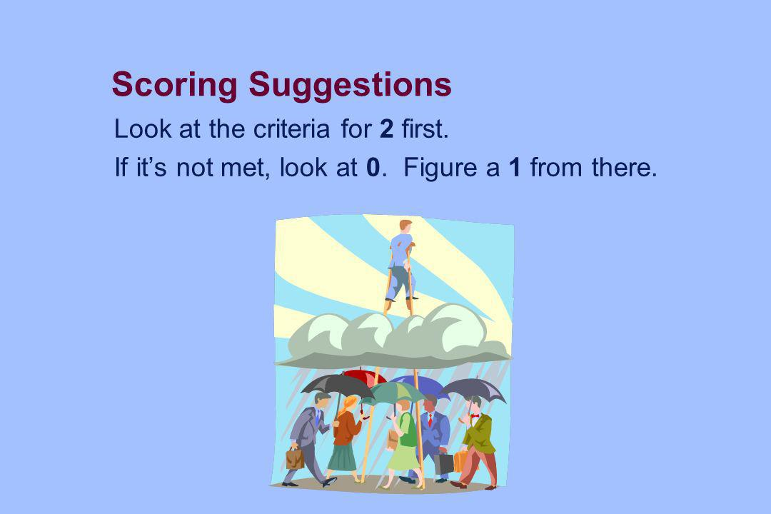 Scoring Suggestions Look at the criteria for 2 first. If its not met, look at 0. Figure a 1 from there.