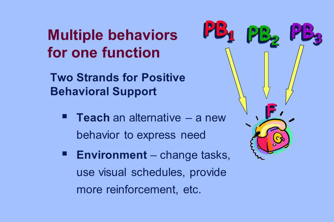 Two Strands for Positive Behavioral Support Teach an alternative – a new behavior to express need Environment – change tasks, use visual schedules, pr