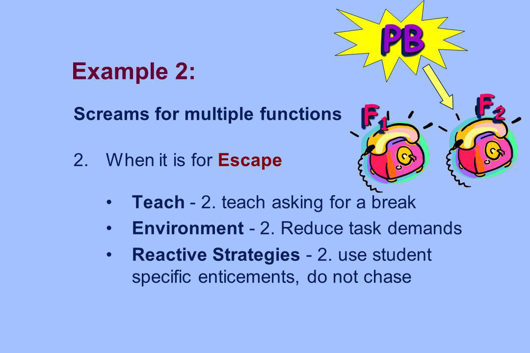 Example 2: Screams for multiple functions 2. When it is for Escape Teach - 2. teach asking for a break Environment - 2. Reduce task demands Reactive S