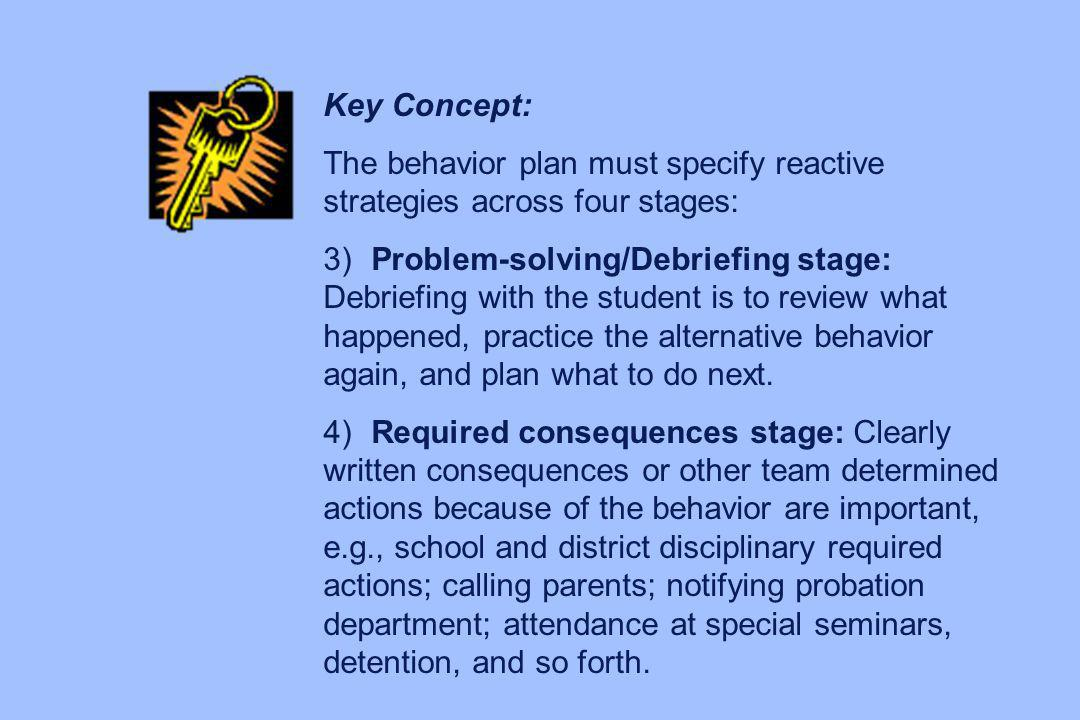 Key Concept: The behavior plan must specify reactive strategies across four stages: 3) Problem-solving/Debriefing stage: Debriefing with the student i