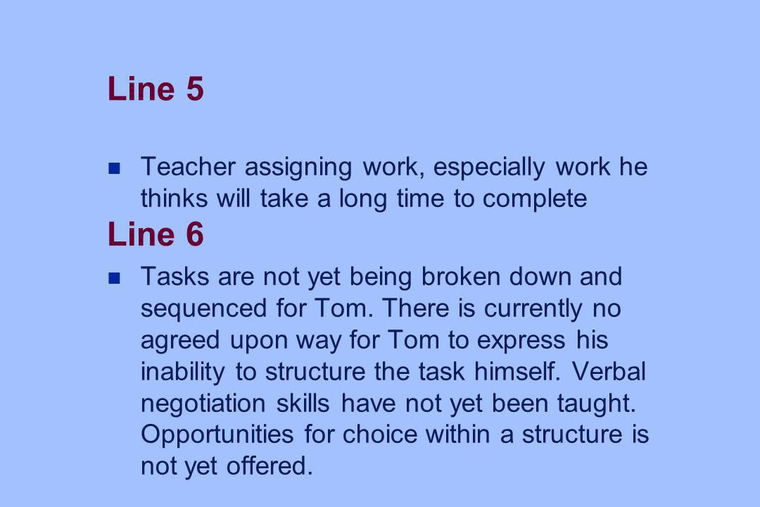 Line 5 n Teacher assigning work, especially work he thinks will take a long time to complete Line 6 n Tasks are not yet being broken down and sequence