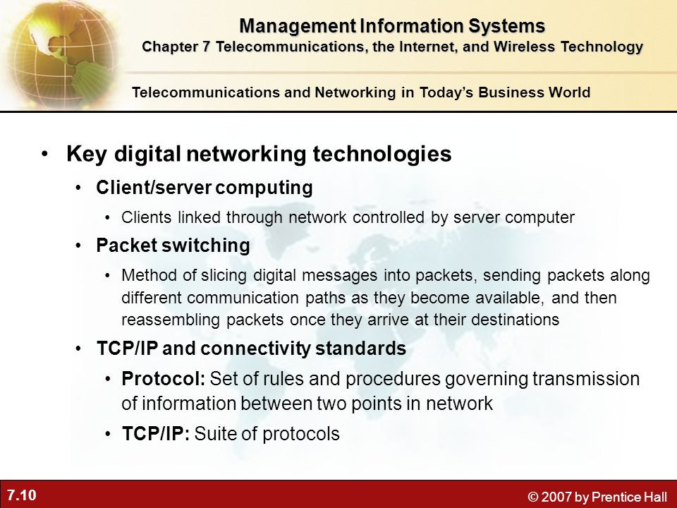 7.10 © 2007 by Prentice Hall Telecommunications and Networking in Todays Business World Key digital networking technologies Client/server computing Cl