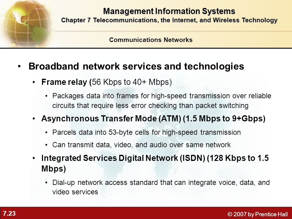 7.23 © 2007 by Prentice Hall Communications Networks Broadband network services and technologies Frame relay (56 Kbps to 40+ Mbps) Packages data into