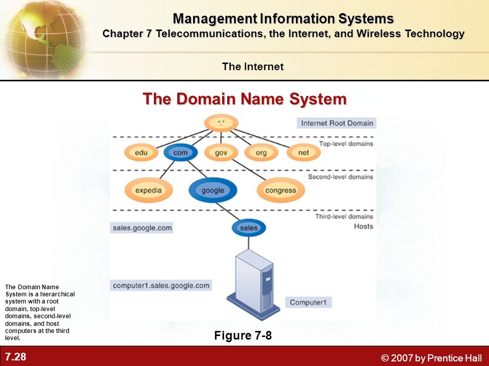 7.28 © 2007 by Prentice Hall The Internet Management Information Systems Chapter 7 Telecommunications, the Internet, and Wireless Technology The Domai