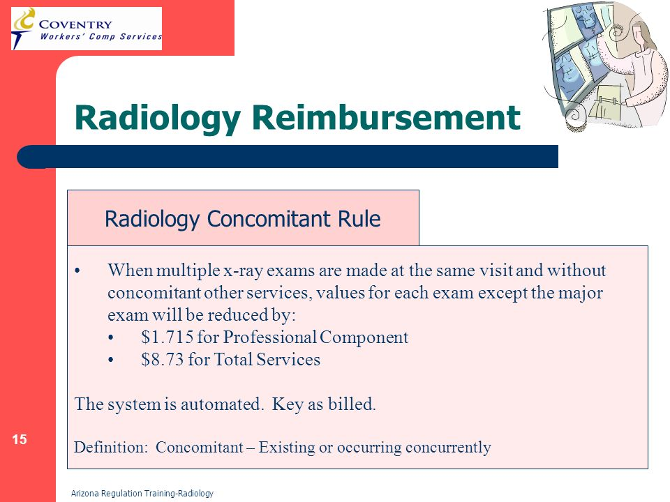 15 Arizona Regulation Training-Radiology Radiology Reimbursement When multiple x-ray exams are made at the same visit and without concomitant other services, values for each exam except the major exam will be reduced by: $1.715 for Professional Component $8.73 for Total Services The system is automated.