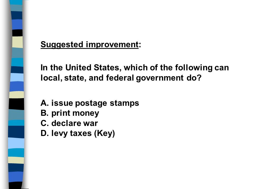 Suggested improvement: In the United States, which of the following can local, state, and federal government do? A. issue postage stamps B. print mone
