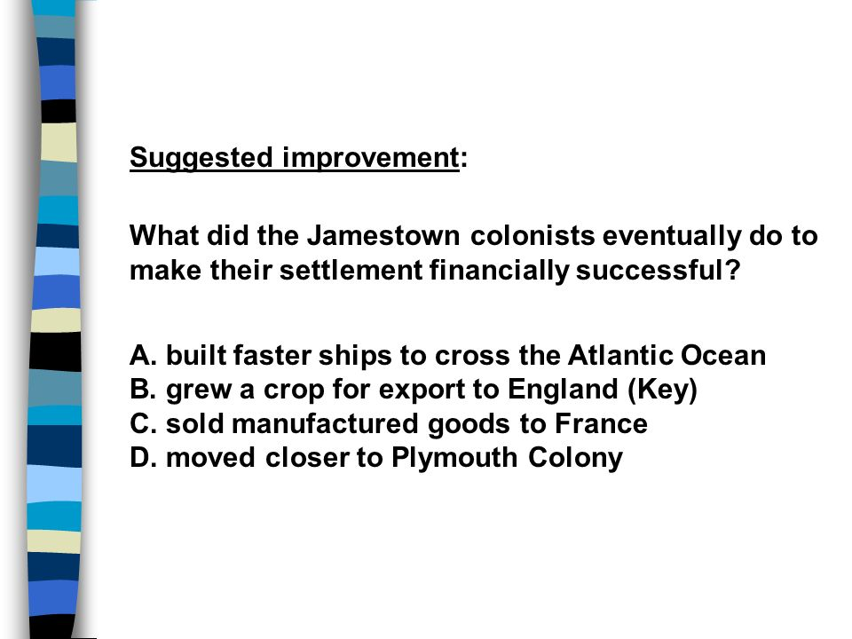 Suggested improvement: What did the Jamestown colonists eventually do to make their settlement financially successful.