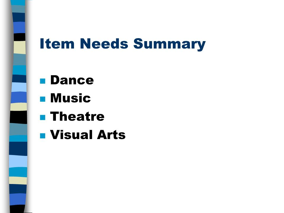 Item Needs Summary n Dance n Music n Theatre n Visual Arts