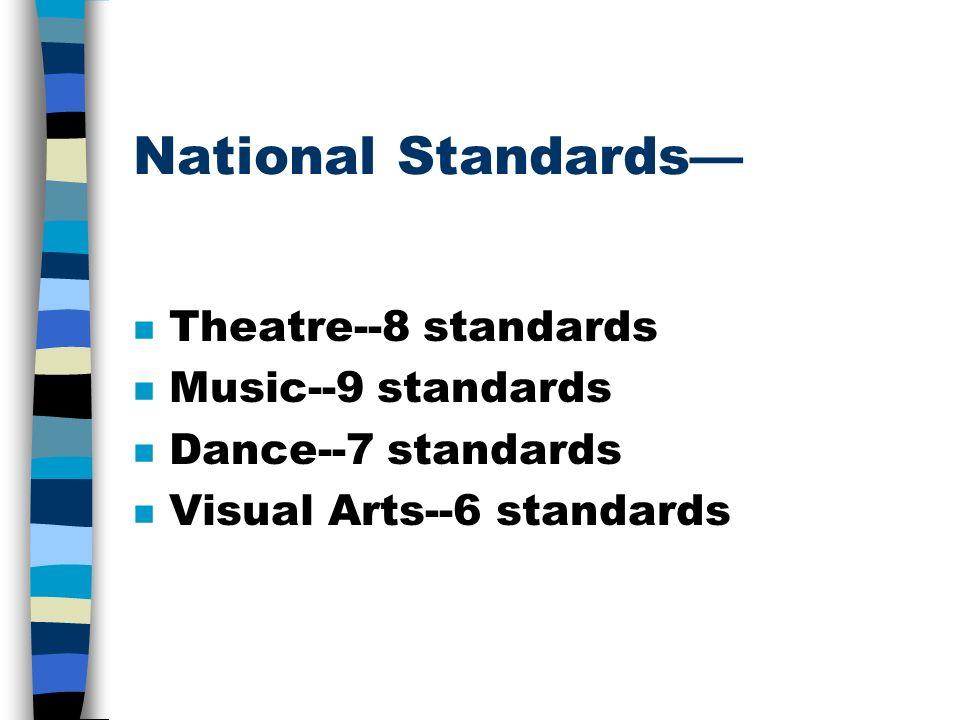 National Standards n Theatre--8 standards n Music--9 standards n Dance--7 standards n Visual Arts--6 standards