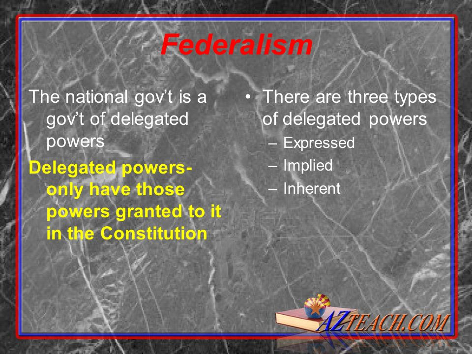 Federalism The national govt is a govt of delegated powers Delegated powers- only have those powers granted to it in the Constitution There are three types of delegated powers –Expressed –Implied –Inherent