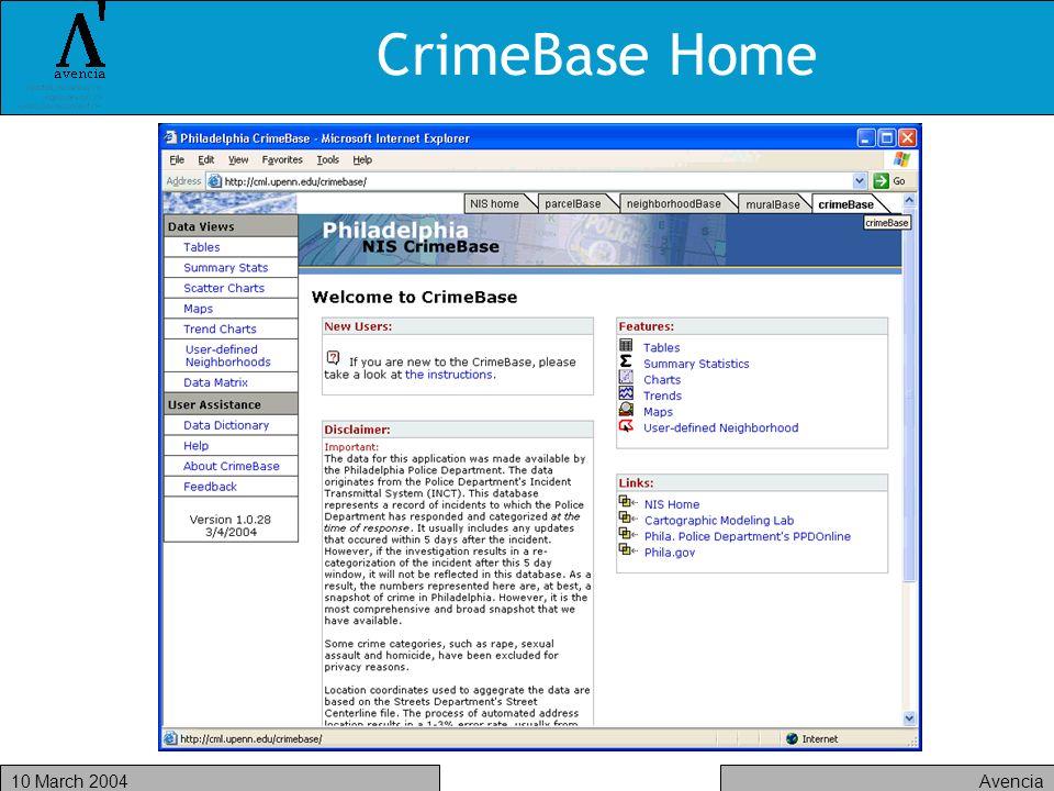 Avencia10 March 2004 CrimeBase Home