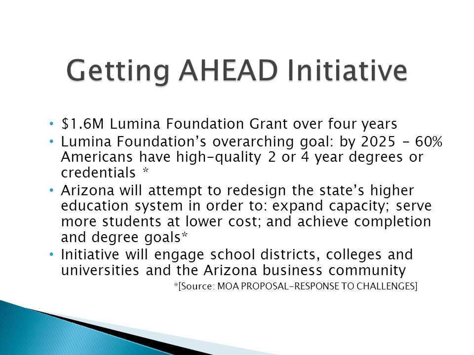 $1.6M Lumina Foundation Grant over four years Lumina Foundations overarching goal: by % Americans have high-quality 2 or 4 year degrees or credentials * Arizona will attempt to redesign the states higher education system in order to: expand capacity; serve more students at lower cost; and achieve completion and degree goals* Initiative will engage school districts, colleges and universities and the Arizona business community *[Source: MOA PROPOSAL-RESPONSE TO CHALLENGES]