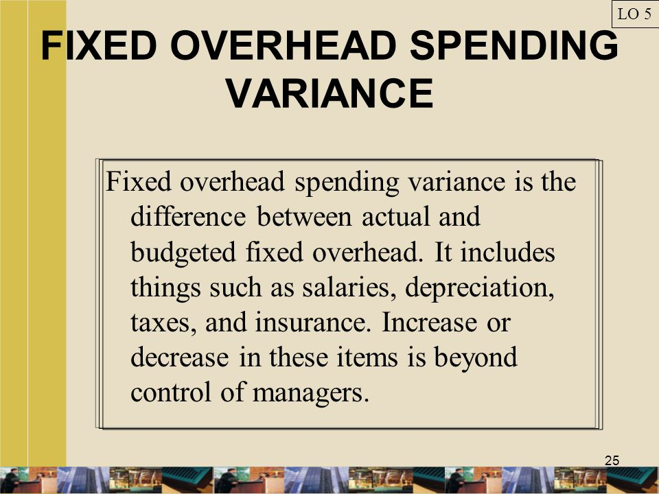 25 FIXED OVERHEAD SPENDING VARIANCE Fixed overhead spending variance is the difference between actual and budgeted fixed overhead. It includes things