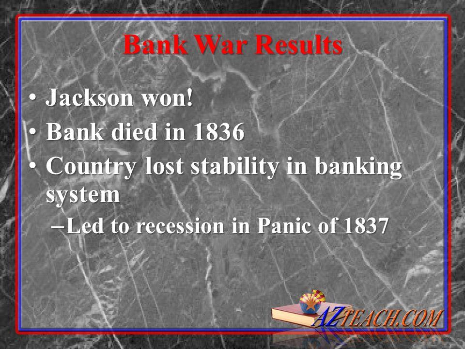 Bank War Results Jackson won.Jackson won.