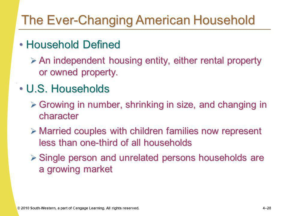 © 2010 South-Western, a part of Cengage Learning. All rights reserved.4–28 The Ever-Changing American Household Household DefinedHousehold Defined An
