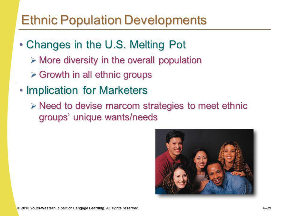 © 2010 South-Western, a part of Cengage Learning. All rights reserved.4–29 Ethnic Population Developments Changes in the U.S. Melting PotChanges in th