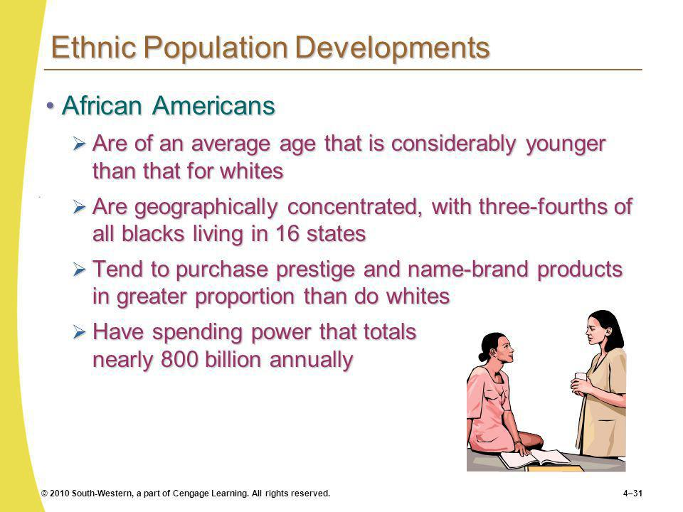© 2010 South-Western, a part of Cengage Learning. All rights reserved.4–31 Ethnic Population Developments African AmericansAfrican Americans Are of an