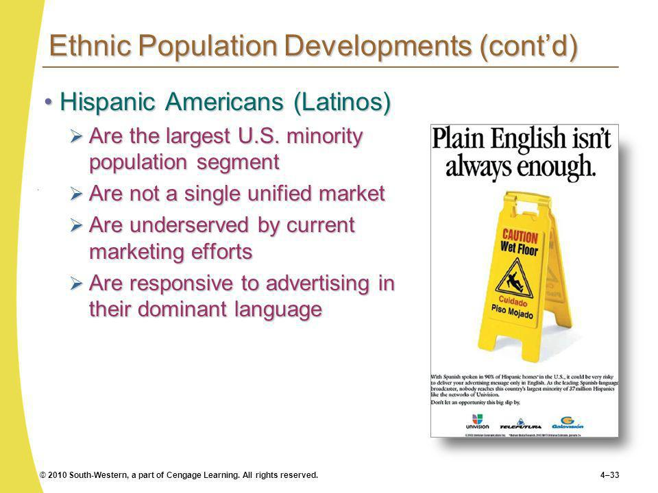 © 2010 South-Western, a part of Cengage Learning. All rights reserved.4–33 Ethnic Population Developments (contd) Hispanic Americans (Latinos)Hispanic