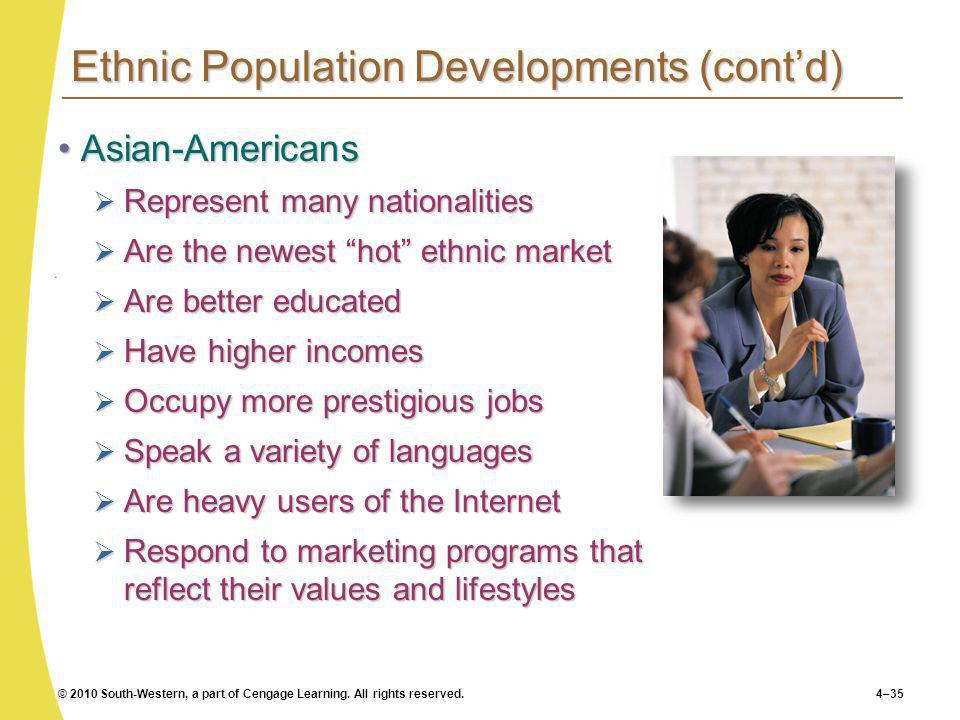 © 2010 South-Western, a part of Cengage Learning. All rights reserved.4–35 Ethnic Population Developments (contd) Asian-AmericansAsian-Americans Repre