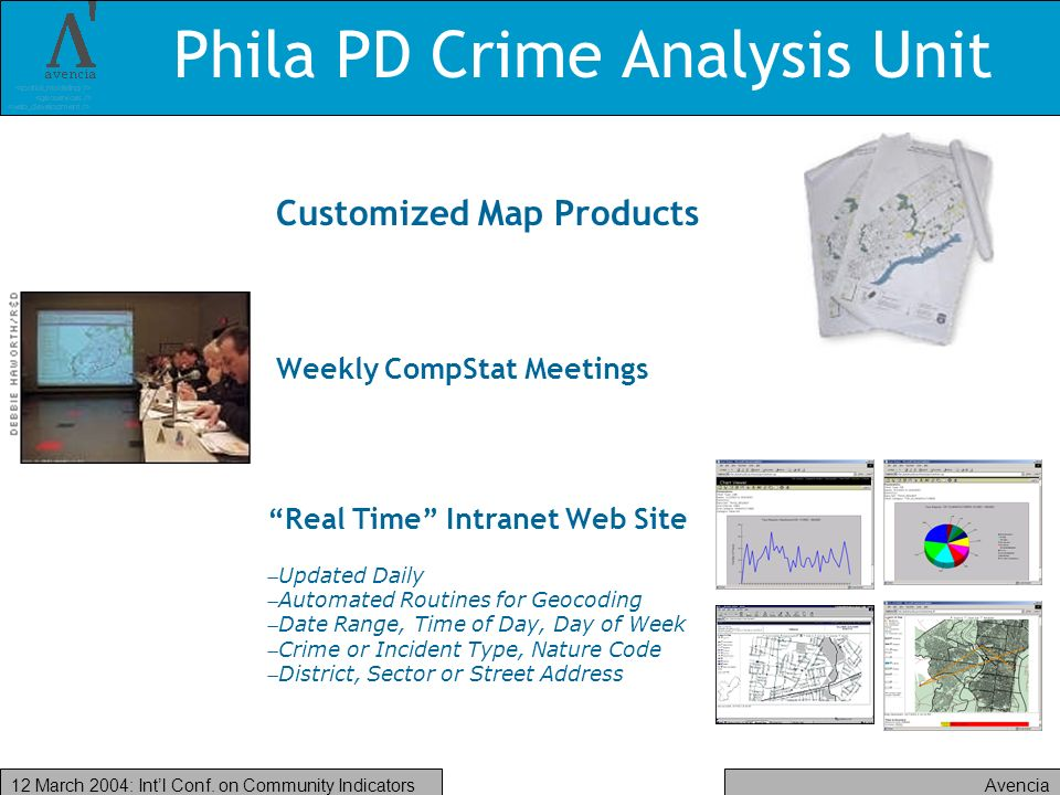 Avencia12 March 2004: Intl Conf. on Community Indicators Phila PD Crime Analysis Unit Customized Map Products Weekly CompStat Meetings Real Time Intra
