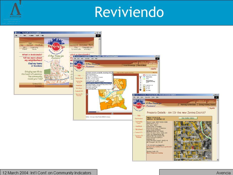 Avencia12 March 2004: Intl Conf. on Community Indicators Reviviendo